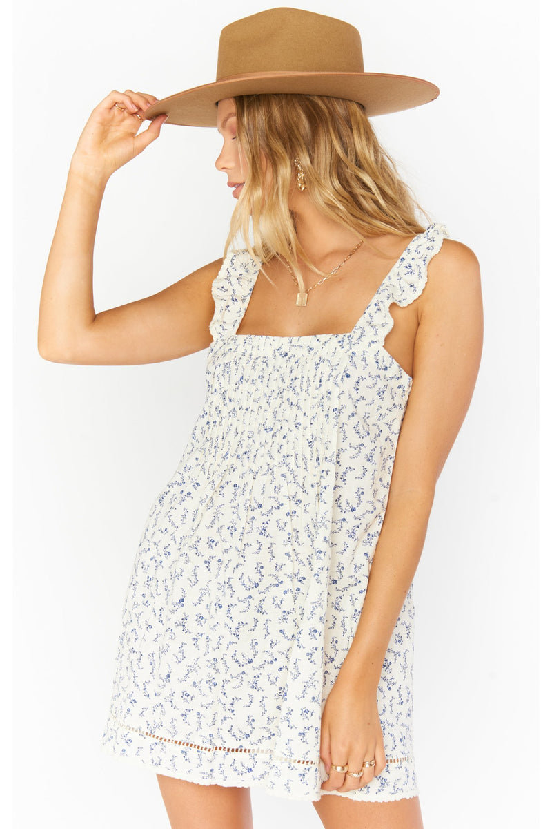 Odie Mini Dress - Cornflower Blues