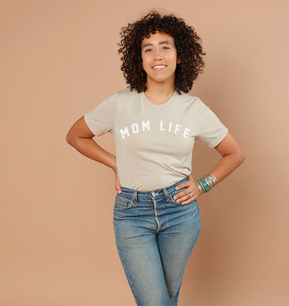 MOM LIFE - TAN TEE / White Ink