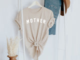 MOTHER - TAN TEE w/ White Ink