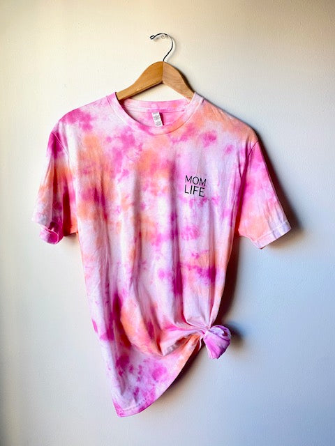 STACKED MOM LIFE (small design) TIE DYE T-shirt