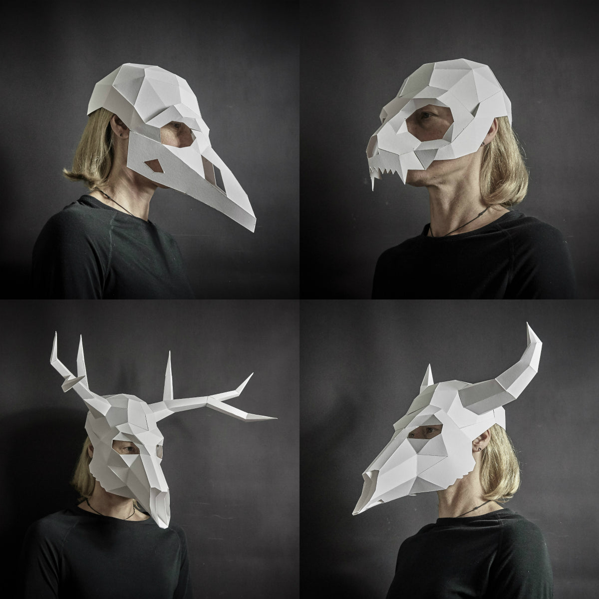 image relating to 3d Paper Mask Template Free Printable named Wintercroft ® - Minimal-Poly Masks