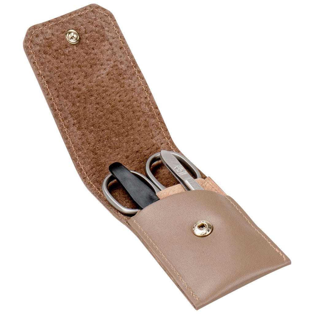 Dovo Taupe Leather 3-Piece Manicure Set