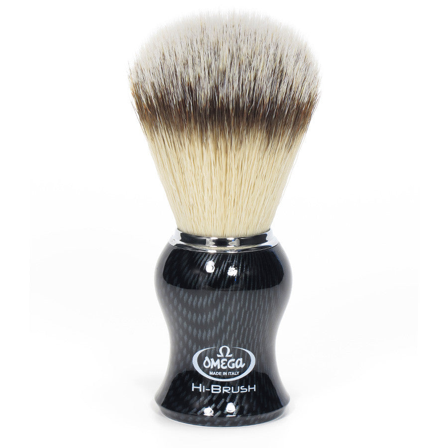 Omega Hi-BRUSH Fiber Shaving Brush – CARBON FIBER Effect 46650