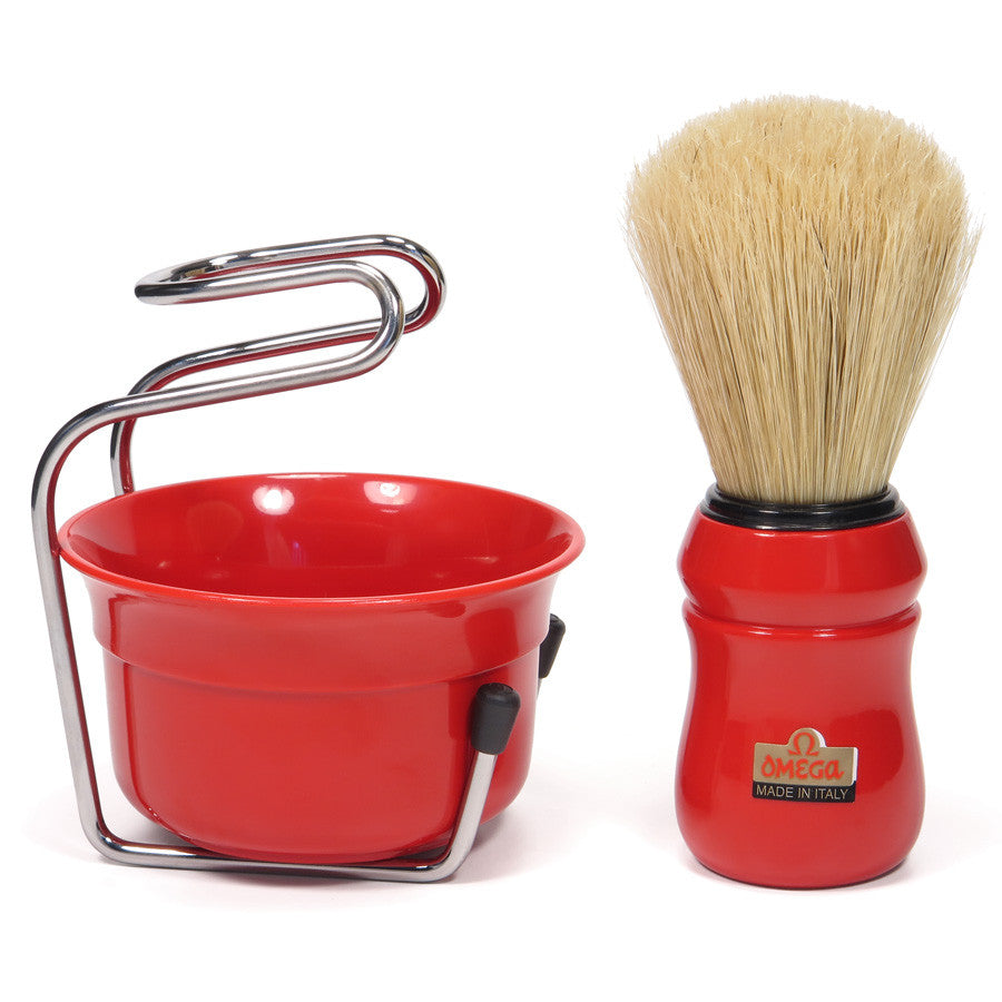 Omega Pure Bristle Red Shaving Brush with Bowl and Support - Cyril R. Salter