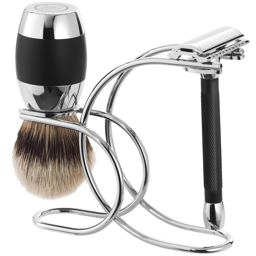 Merkur 3-Piece Black & Chrome Shaving Set