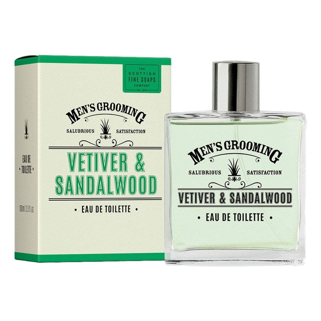 The Scottish Fine Soaps Company Vetiver & Sandalwood Eau de Toilette 100ml - Cyril R. Salter | Trade Suppliers of Gentlemen's Grooming Products