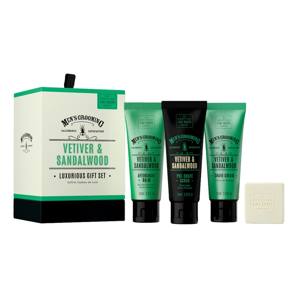 The Scottish Fine Soaps Company Vetiver & Sandalwood Luxurious Gift Set -  Cyril R. Salter | Trade Suppliers of Gentlemen's Grooming Products