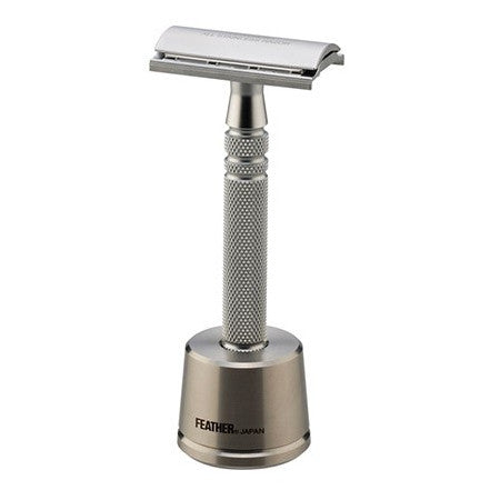 Feather All Stainless Safety Razor with Stainless Steel Stand