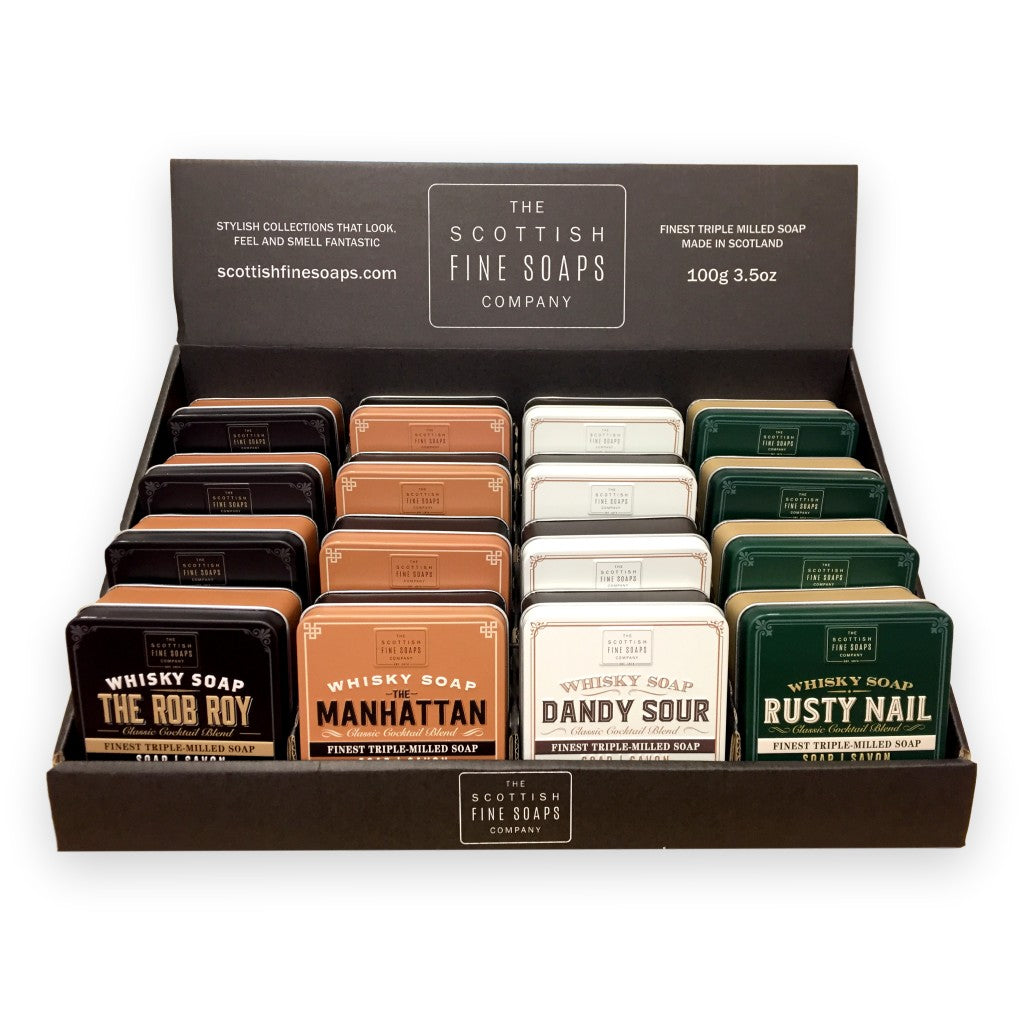The Scottish Fine Soaps Company Assorted Whiskey Cocktail Soaps 16 x 4 100g with Display Stand - Cyril R. Salter