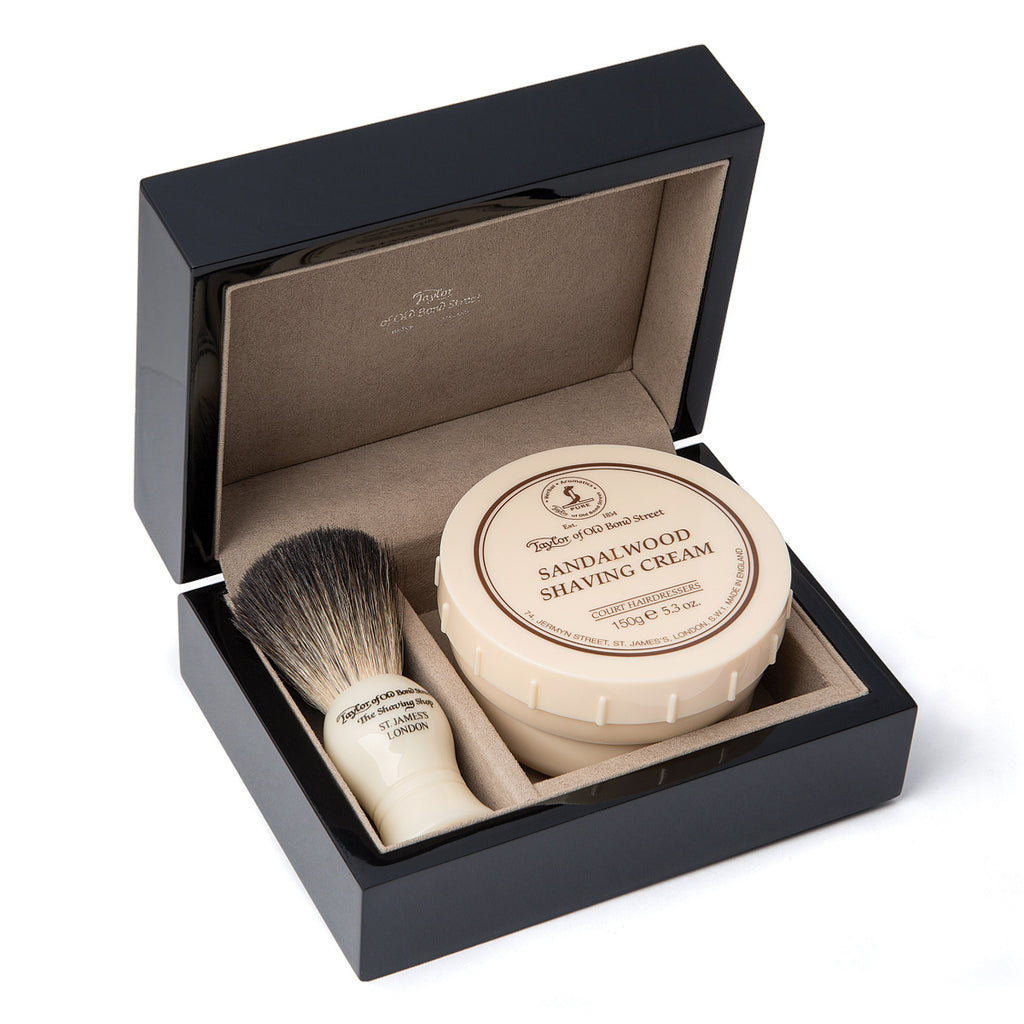 Taylor of Old Bond Street Sandalwood & Pure Badger Luxury Wooden Gift Box - Cyril R. Salter