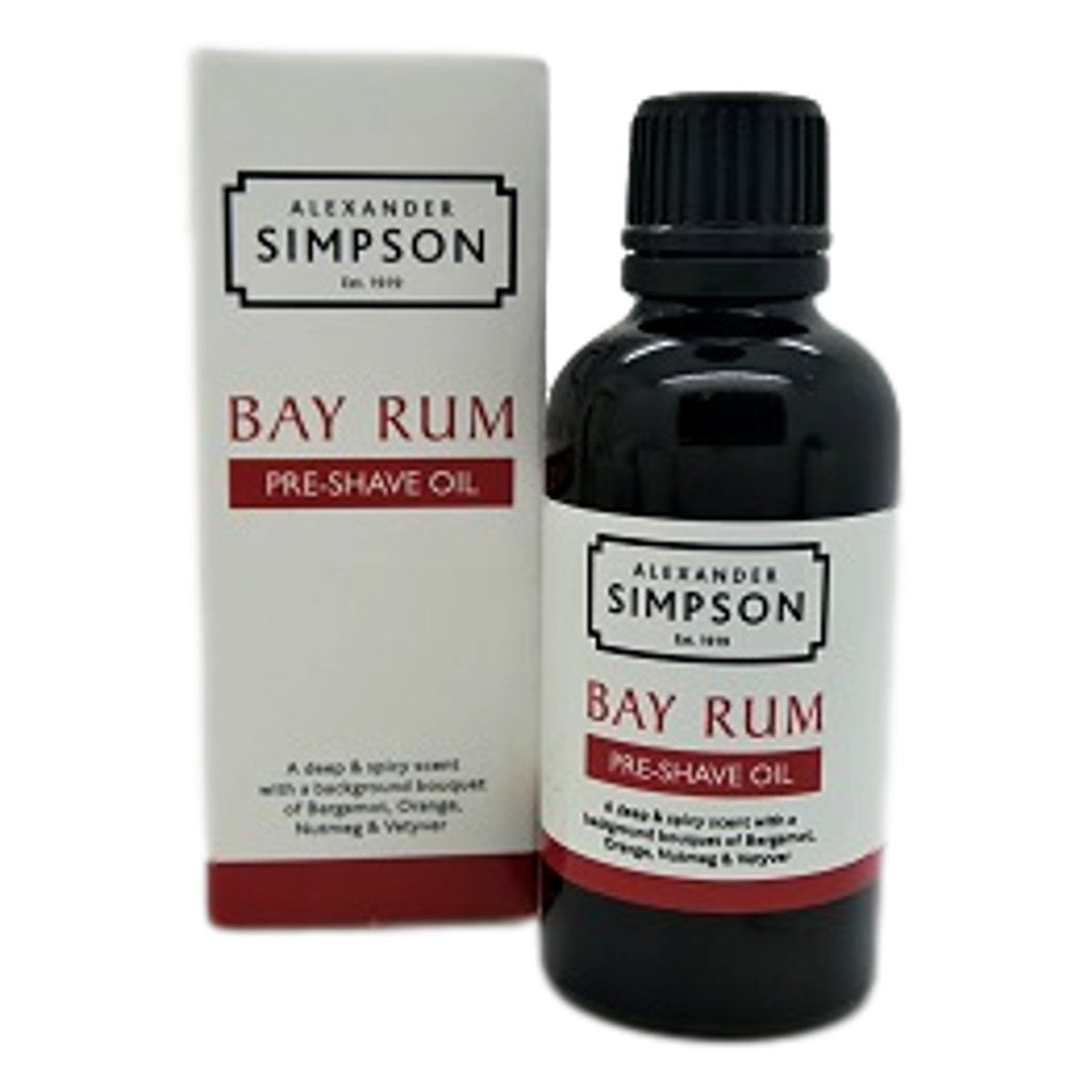 Alexander Simpson Est. 1919 Pre-Shave Oil Bay Rum 50ml - Cyril R. Salter | Trade Suppliers of Luxury Grooming Products