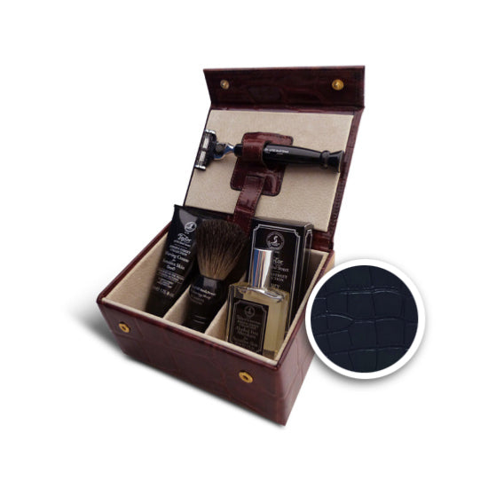 Taylor of Old Bond Street Jermyn Street Collection Black Leather Grooming Box - Cyril R. Salter