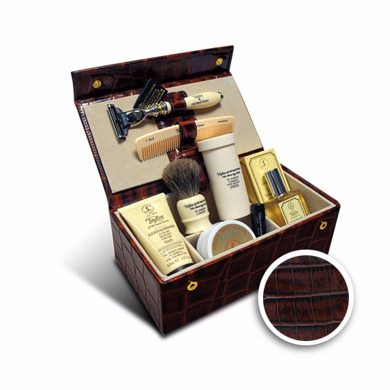 Taylor of Old Bond Street Sandalwood Luxury Men's Grooming Box in Brown Mock-Croc