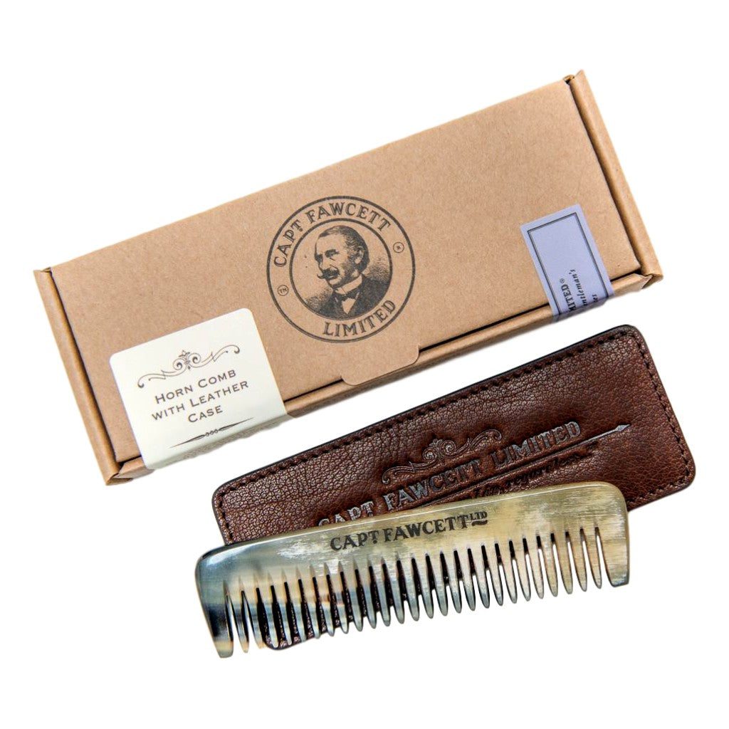 Captain Fawcett's Horn Beard Comb with Leather Case