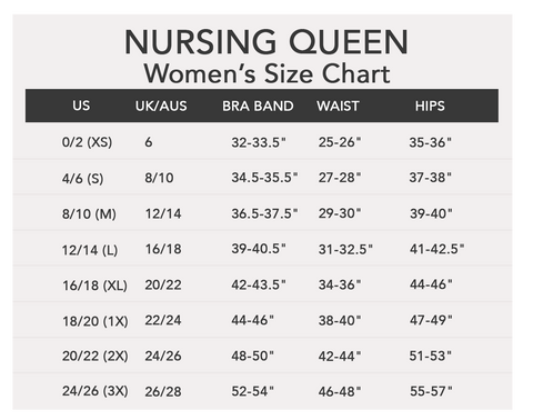 Nursing Queen Size Chart
