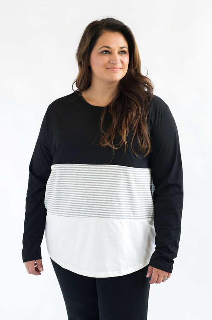 plus size nursing top 3 block black and stripes