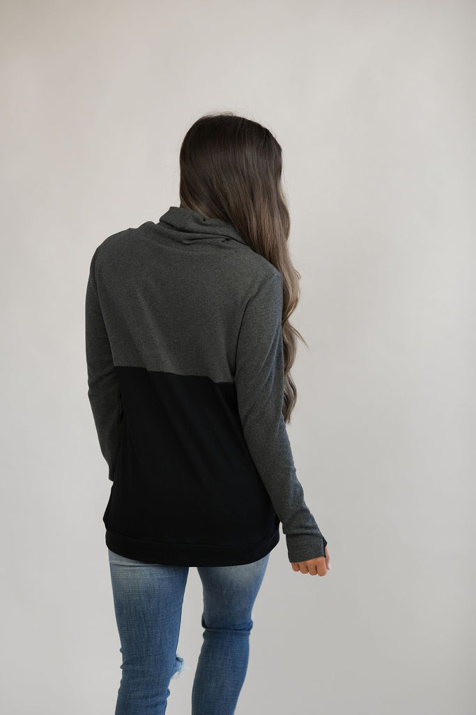 Nursing Cowl Neck Pullover - Hidden Zipper - Dark Gray/Black