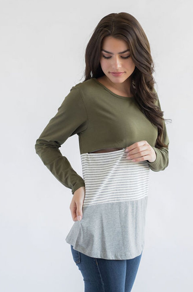 nursing top long sleeves colorblock
