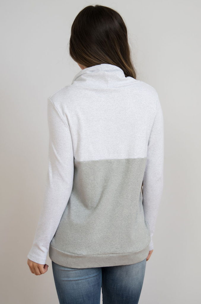 NURSING QUEEN Colorblock Nursing Pullover  - Hidden Zipper - Gray - Nursing Queen