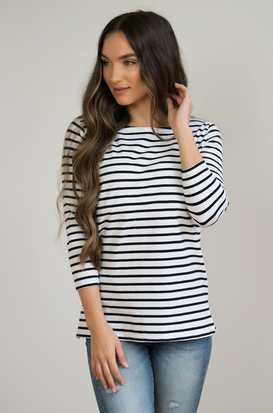 NURSING QUEEN Striped Nursing Top - Hidden Zipper- Black and White - Nursing Queen