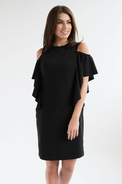 Formal Cold Shoulder Nursing Dress - Hidden Zipper - Black