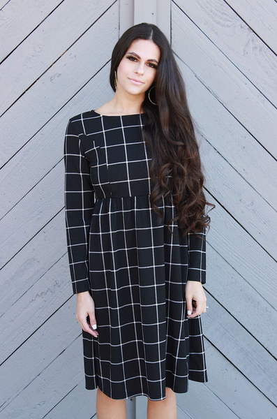 PRE-ORDER Long Sleeve Nursing Dress With Pockets- Grid Panel - Black