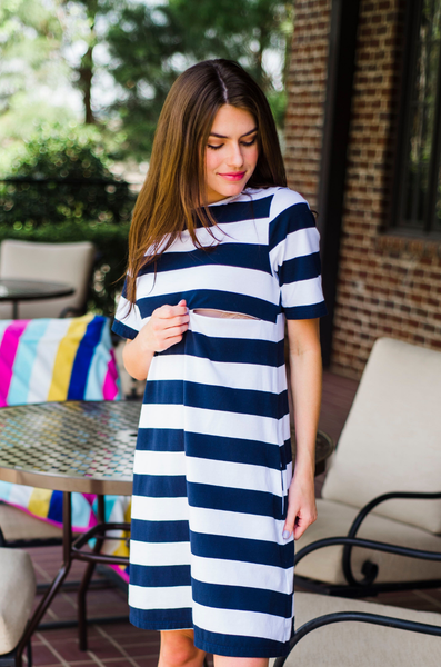 wide stripe nursing dress nautical