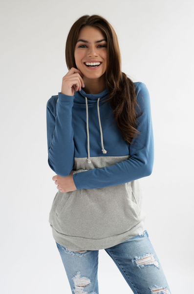 Nursing Sweatshirt - Hidden Zipper - Colorblock Blue/Gray