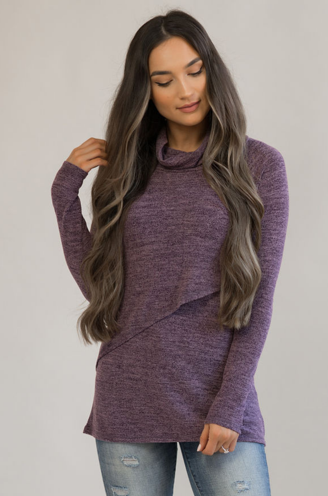 Nursing Sweater With Asymmetrical Flap - Purple