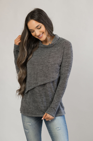 Nursing Sweater With Asymmetrical Flap- Gray
