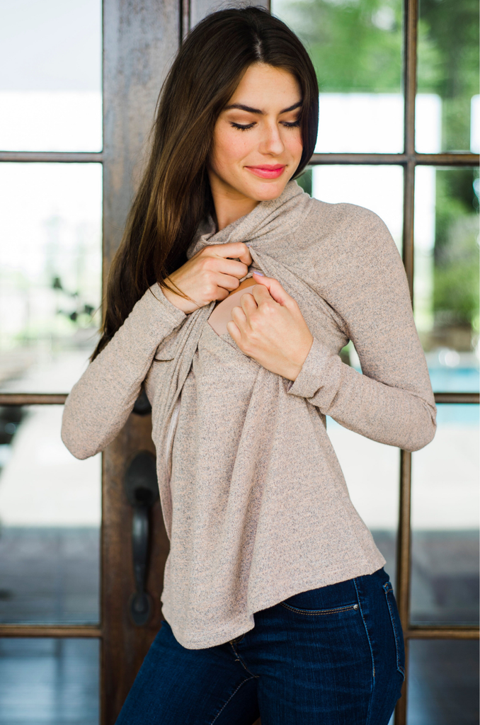 Lightweight nursing sweater with lift up flap