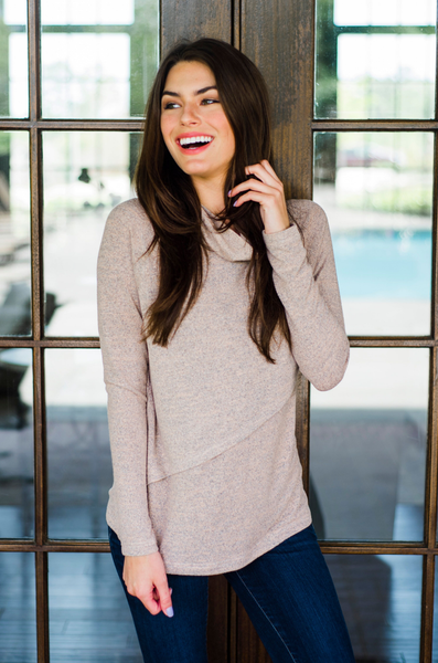 Nursing Sweater with cowl neck pink