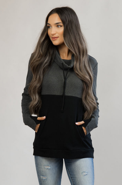Nursing Sweatshirt - Hidden Zipper - Colorblock Charcoal/Black