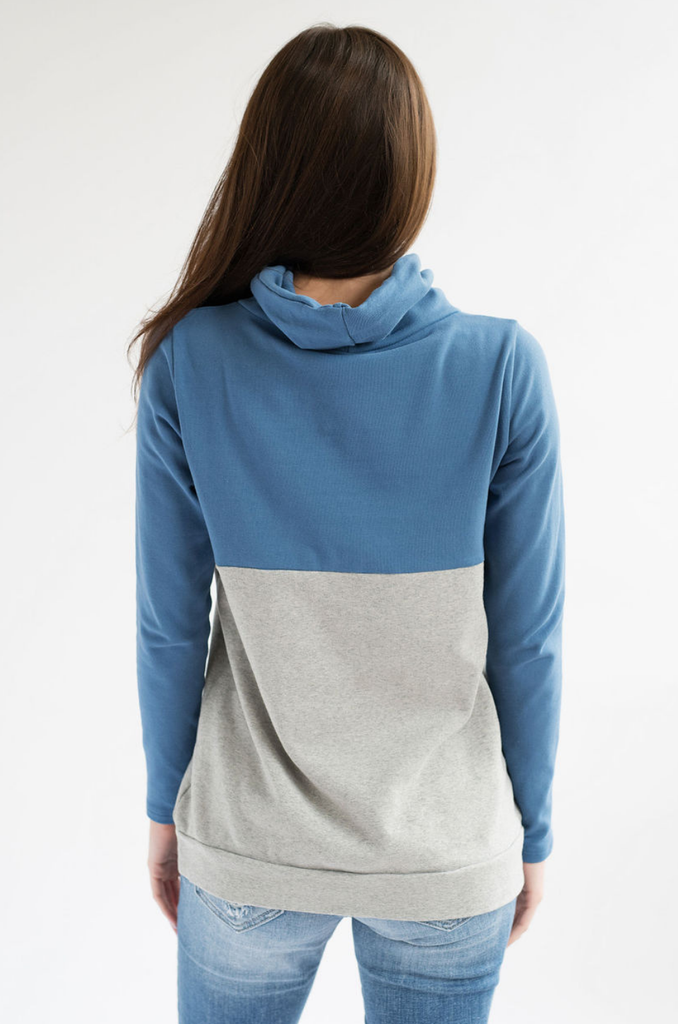 Nursing Cowl Neck Pullover - Hidden Zipper - Colorblock Blue/Gray