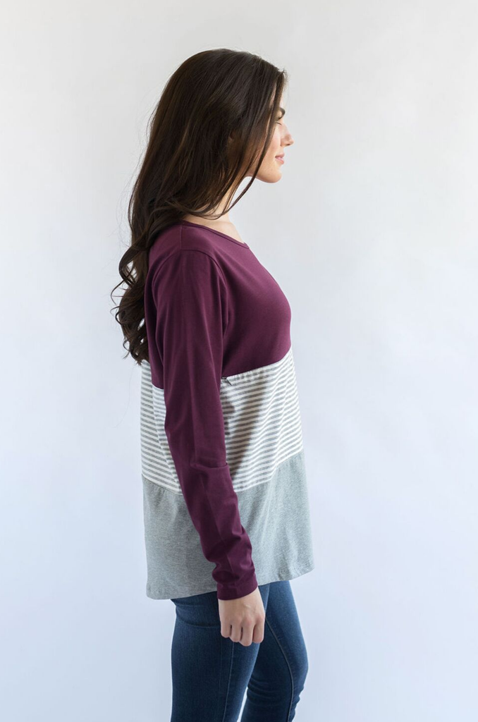 burgundy nursing top and stripes