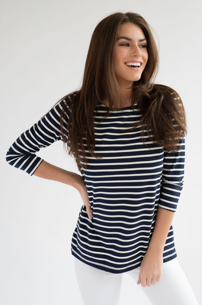 Navy and White Stripe nursing top with hidden zipper
