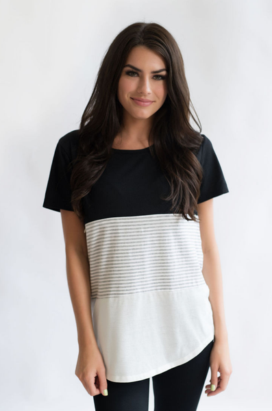 116295e817098 Nursing Tshirt 3 Block Colorblock Hidden Zipper. Nursing T-Shirt- 3 Block  Colorblock- Black/White/Stripes $32.99