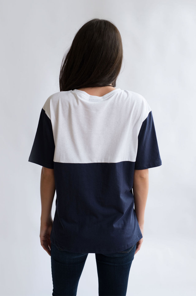 nursing tshirt colorblock elbow sleeves navy blue white