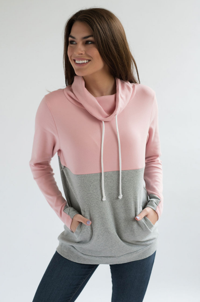Nursing Sweatshirt - Hidden Zipper - Colorblock Pink/Gray