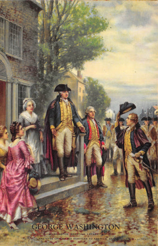 President George Washington Meets General Lafayette Vintage Graphic Art Print