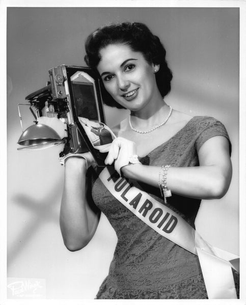1950s Miss Polaroid Cameras Brunette Fashion Model Vintage Studio Photo