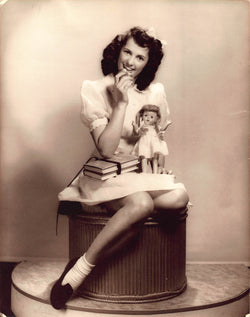 Cute Brunette School Girl with Doll Vintage 1950s Fashion Model Photo