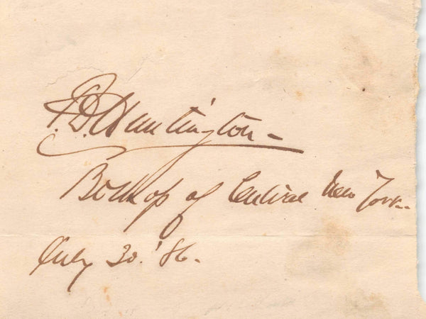 Frederic Dan Huntington 1st Episcopal Bishop of New York Autograph Signature