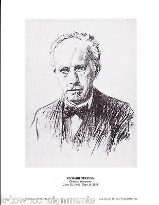 Richard Strauss German Composer Vintage Portrait Gallery Poster Print - K-townConsignments