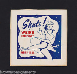 WEIRS NEW HAMPSHIRE ROLLER SKATING RINK VINTAGE RETRO GRAPHIC ADVERTISING LABEL - K-townConsignments