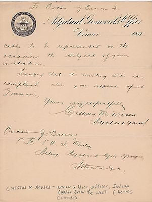 CASSIUS MOSES SPANISH-AMERICAN WAR CIVIL WAR SOLDIER AUTOGRAPH SIGNED STATIONERY - K-townConsignments