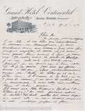 GRAND HOTEL CONTINENTAL JULES ANRIG ANTIQUE GRAPHIC ENGRAVING STATIONERY LETTER - K-townConsignments
