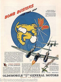 54th FIGHTER SQUADRON INSIGNIA VINTAGE WWII AVIATION GRAPHIC ADVERTISING PRINT - K-townConsignments