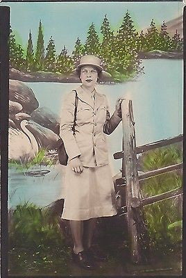 WWII MILITARY WOMAN IN UNIFORM VINTAGE WAC MILITARY HOMEFRONT COLORED PHOTOGRAPH - K-townConsignments