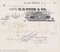 H.B. WOOD LUMBER LIME & CEMENT CENTRAL FALLS RI ANTIQUE ENGRAVING STATIONERY - K-townConsignments
